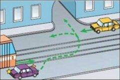 Поворот через трамвайные пути